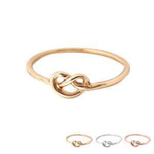 Wholesale celtic knot band ring for sale - Group buy Lovely Heart Knot Ring Gold Silver and Rose Gold Plated Everyday Jewelry Infinity Women Ring EFR065