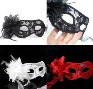 Wholesale silicone masks for sale for sale - Group buy hot sale sexy Black white red Women Feathered Venetian Masquerade Masks for a masked ball Lace Flower Masks colors