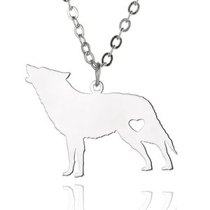 Wholesale Wolf Pendant Necklace Stainless Steel Animals Charm Link Chain Jewelry for Women and Men Children Gifts