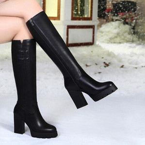 Wholesale Women over the knee boots thigh high suede boots autumn winter women's wear fur warm black heels boots winter shoes woman