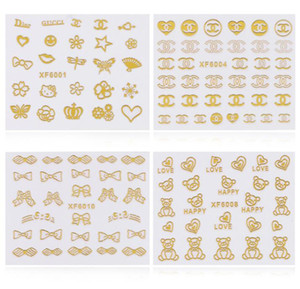 Wholesale 3d Gold Nail Art Stickers Decals sheet Flowers Bowkbot Crown Star Design Metallic Adhesive Nail Foils Tips Decoration DIY Nail Supplies