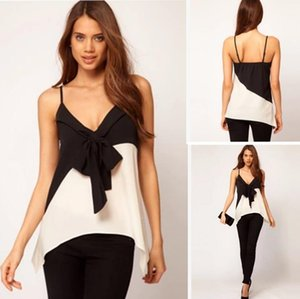 Wholesale Fashion Women Girls Sexy Crop Tops Camisole Vest Bustier Bralette Cotton Blend Sleeveless Casual Tanks Black and White Bow Tshirts