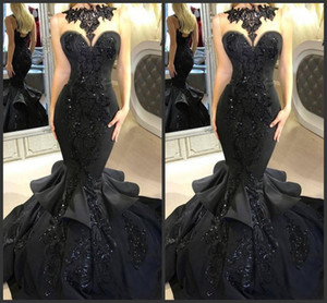 2019 New Stunning Black Long Evening Dresses Beaded Appliqued Cascading Ruffled Mermaid Court Train Backless Formal Party Prom Gowns 2018 on Sale