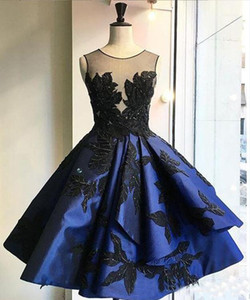 Wholesale coctail dresses resale online - New Dark Blue Pleat Short Evening Dresses Sexy Backless Appliques Coctail Dress Sleeveless O Neck Prom Gowns Robe de soiree
