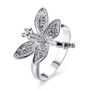 Wholesale Elegant Silver Plated Rings Jewelry Cute Dragonfly With Diamond Crystal Rings For Ladies Women