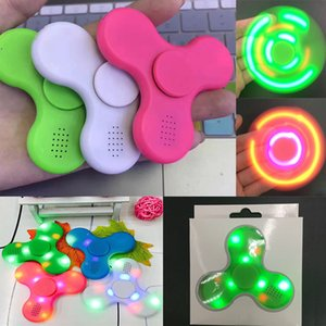 Wholesale Led Bluetooth Music Fidget Cube Spinner Finger HandSpinner EDC Hand Tri Spinner HandSpinner EDC Plastic Decompression Toy WX T25
