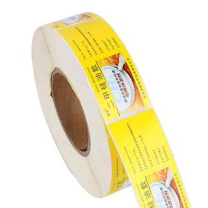 Wholesale customized yellow paper label sticker eco friendly package self adhesive sticker
