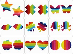 9 shapes rainbow design star heart clover Safety and environmental protection nipple covers sticker breast pad T- Tit tape 200pairs cover