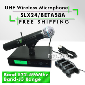 Free Shipping!! Professional UHF Wireless Microphone SLX24 BETA58 SLX Cordless 58A Handheld Karaoke System Band J3 572-596Mhz
