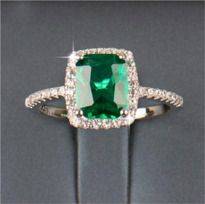 Wholesale emerald engagement rings for sale - Group buy Big Promotion ct Real Silver Ring SWA Element Diamond Emerald Gemstone Rings For Women Wedding Engagement Jewelry New