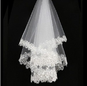 Princessally Ivory Wedding Veil New White Lace Bling Appliques Bridal Veil Soft Tulle Fashion Real Picture Wedding Accessories
