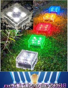 Wholesale 2017 NEW LED Solar Lamp Colorful Led Crystal Cube Light Garden Light Outdoor Light landscape Light Solar lawn lamp Yard Stake Decoratio MY
