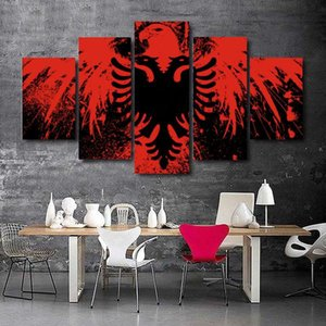5 piece of canvasAlbanian flag art decoration painting art painting