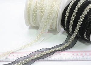 Wholesale White Craft Beaded Fake pearls lace Trim ribbon costume applique sewing on garment yards