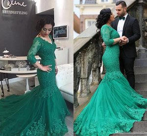 Wholesale Green Mermaid Lace Evening Dresses V Neck 3 4 Long Sleeve With Applique Sweep Train Elegant Formal Prom Gowns 2017 New