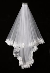 Wholesale Elegant White Ivory Two Layers Tulle Net Tulle Bride Veil m Long Lace Edge Tulle Veil For Wedding New SLV002