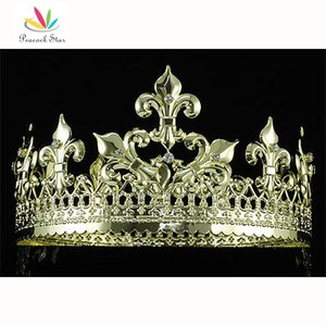 Wholesale Peacock Star Imperial Medieval Homecoming Pageant Prom Full Circle Round Gold Plated King Men s Crown CT1715