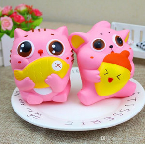 Wholesale 30pcs Newest cm Jumbo Kawaii Squishy Kitty Cat Eat Fish Slow Rising Soft Scented Toys Squishies Kids Adult Gifts