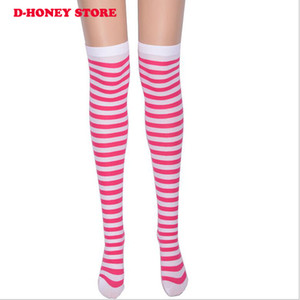 Wholesale Women Girls Sexy Striped Thigh High Stockings Cosplay Christmas Party Casual Fashion Cotton Over the Knee Socks