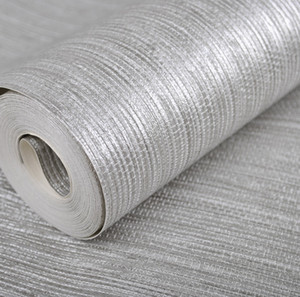 Wholesale- Vertical Texture Metallic Silver Faux Grasscloth Vinyl Modern Wall Paper Straw Glossy Grass Cloth Wallpaper For Bedroom Wall on Sale