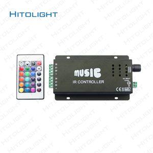 HITOLIGHT DC12-24V 12A Music Controller IR Remote Control Aluminum LED RGB Music Controller & for Audio Sound Sensitive for Strip Light