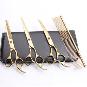 Wholesale 4Pcs Suit quot JP C Customized Logo Professional Hair Hairdressing Scissors Comb Cutting Shears Thinning Scissor Down Curved Shears C3003