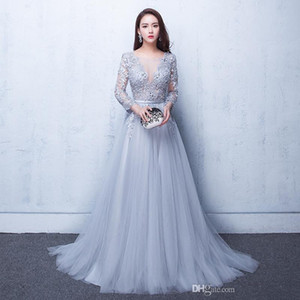 Sexy Illusion Evening Gowns Lace Formal 2017 Real Photos Prom Dresses With Applique Beads Crew Neck 3 4 Sleeves Under 100