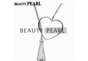 Wholesale silver jewellery boxes resale online - 5 Pieces Sterling Silver Box Chain Heart Pendant Mounting Necklace Jewellery Necklace Blank Settings for Pearls
