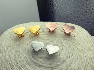 Wholesale forever gold resale online - Hot sell forever love earrings L Stainless Steel love stud earrings heart sharpe earrings for women men Couples fine jewlery