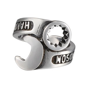 Wholesale Our Harley style retro punk male rock ring finger ring wrench trendsetter personalized jewelry