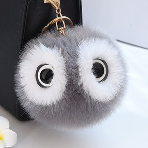 Wholesale pompom keychain faux fur for sale - Group buy Cute Faux Rabbit Fur Ball Pompom Keychain Women Fluffy Pompon Owl Key Chain Holder Pom Pom Toy Doll Keyring Bag Charms Trinket