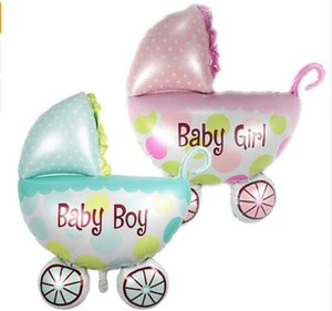 Wholesale Large Baby Shower Ballons cm cm Baby Stroller Baby Boy Girl Foil Balloons inflatable Classic Toys Birthday Party Decorations Kids