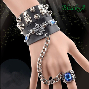 Unique Rock Spirit Skull Bracelets for Women Men Rivet Gothic Skeleton Bracelet Charm Punk Biker Wide Cuff Leather Bracelet Ring Chain