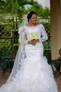Wholesale winter mermaid wedding dresses for sale - Group buy 2017 Winter Plus Size Bride Dresses Custom Made Elegant Beaded Lace Long Sleeves Mermaid Wedding Dress vestidos de noiva