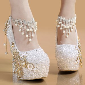 Wholesale sparkle dress shoes resale online - Hot Bridal Pumps Wedding Shoes Elegent Bling Pearl Platform Heels Sparkle Crystal Heels Party Club Accessories Bridesmaid Dress ups