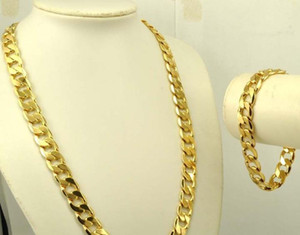 Wholesale real golden necklace for sale - Group buy Heavy Men s K Real Yellow Solid Gold GF Necklace Bracelet set Solid Curb Chain jewelry SETS Classics