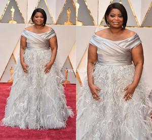Elegant Octavia Spencer Oscars Evening Dresses Silver Off Shoulder with Feather Beading Long 2017 Plus Size Occasion Gowns Celebrity Dress on Sale