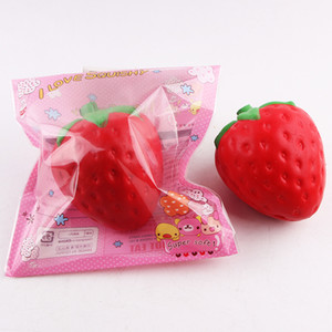 Wholesale 12cm big Colossal strawberry squishy jumbo simulation Fruit kawaii Artificial slow rising squishies queeze toy bag phone charm