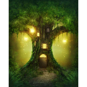 Wholesale Fantasy Tree House Wonderland Photography Backdrops Fairy Tale Bright Lanterns Princess Girl Kids Children Party Photo Studio Background