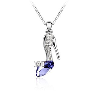 fashion brands jewelry for grils crystal high-heeled shoes pendant necklace made with Austrian crystals from Swarovski for women gift
