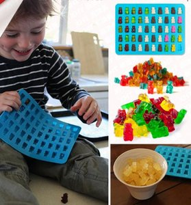 Wholesale 50 Cavity Silicone Gummy Bear Chocolate Mold Candy Maker Ice cube Tray Jelly Moulds with free dropper wn067