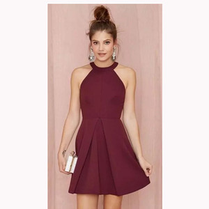 Wholesale Cheap Short Cocktail Party Dresses 2019 Halter Backless Burgundy Satin A Line Prom Homecoming Gowns Girls Formal Wear