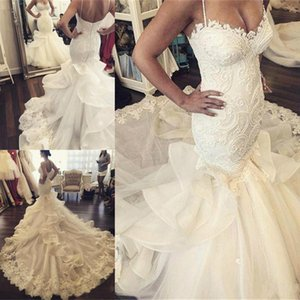 Wholesale 2018 Latest Spaghetti Strap Mermaid Wedding Dresses Appliques Button Back Bridal Wedding Gowns Robe De Mariee