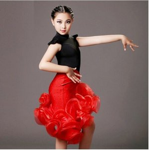 Wholesale sequins latin girl black and red children dance costumes suit skirt sets for performance kids samba costumes salsa dress fringe