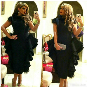 Wholesale Black classio High Collar Evening Dresses Feather on Shoulder Ruffles Peplum Prom gowns Tea Length Column Plus Size Formal Dress Cheap