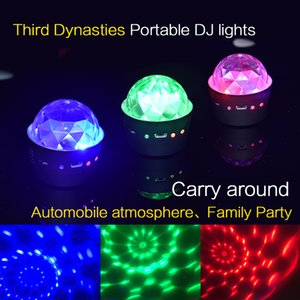 Portable LED Crystal Magic Ball Laser Effect Light Stage Lights RGB DJ Light Atmosphere Lamp Mini DJ Laser For Christmas Party Home Wedding