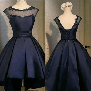 Wholesale Custom Made Dark Navy Black Short Dresses Hi Low Homecoming Dress Cheap Stunning Sheer Neckline Capped Shoulder Lace-up Back Party Dress