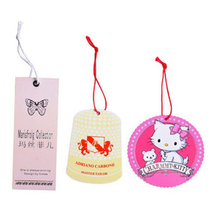 Custom hang tags with strings ribbon attached Special die cut clothing tags full color printing Garments swing tags for dress t-shirt bags