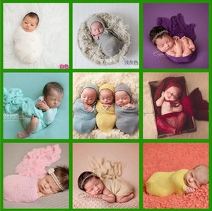 Wholesale Baby Photography Props Wrap Swaddle color Newborn Stretch Knit Wrap Blanket Parisarc Bedding Sleepsacks Scarves Baby Newborn Photo Props