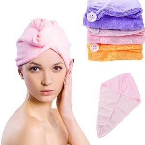 Wholesale- Microfiber Solid Hair Turban Quickly Dry Hair Hat Womens Girl Cap Bathing Tool Drying Towel Head Wrap Hat gorro ducha mujer